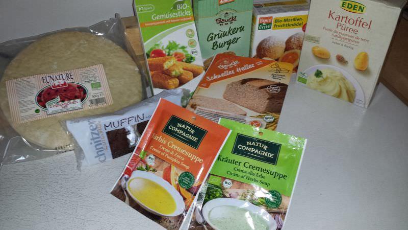Auswahl von Bio Fertigprodukten